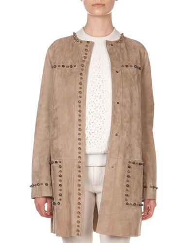 Paneled Studded Suede Jacket