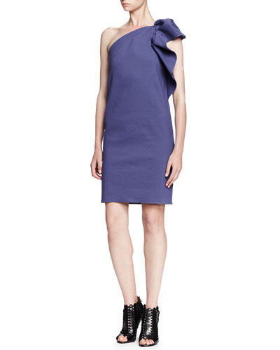 Gathered Ruffle One-Shoulder Dress, Lavender