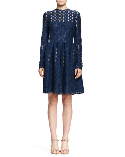 Long-Sleeve Circle & Floral Lace Dress, Blue