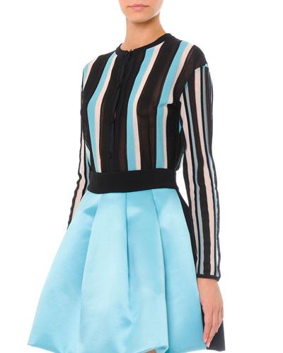 Vertical-Stripe Cardigan Sweater