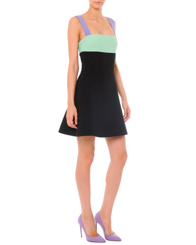 Strappy Colorblock A-Line Dress