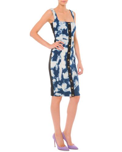 Button-Down Bleach Cloud-Print Dress