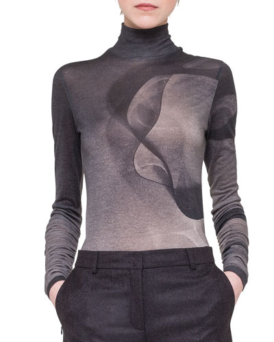 Cashmere/Silk Abstract-Print Top