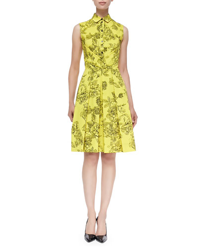 Floral-Print Button-Up Shirtdress, Citrine