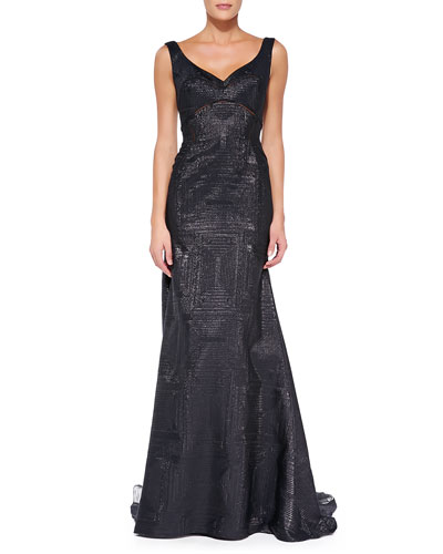 V-Neck Gown with Sheer Insets, Black