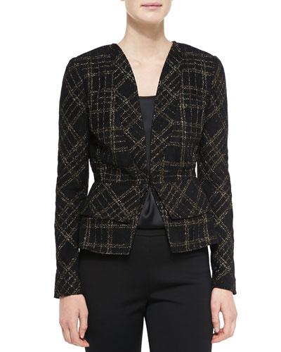 Metallic Plaid Knit Jacket