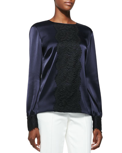 Liquid Satin Blouse with Lace, Navy/Caviar