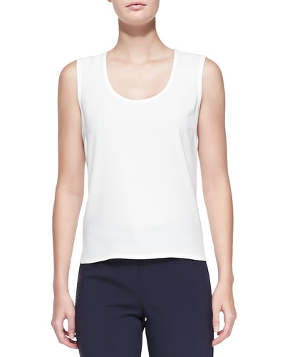 Luxe Crepe Scoop-Neck Shell