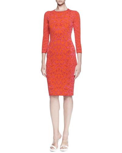 Fitted Leopard-Print Knit Dress