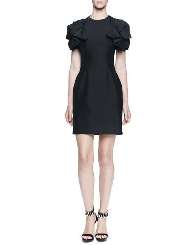 Jewel-Neck Folded Pouf-Sleeve Dress