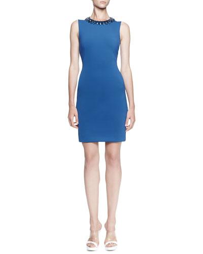 Embellished-Neck Scuba Dress