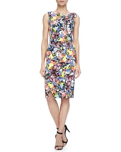 Mariko Floral-Print Cowl-Neck Draped Dress