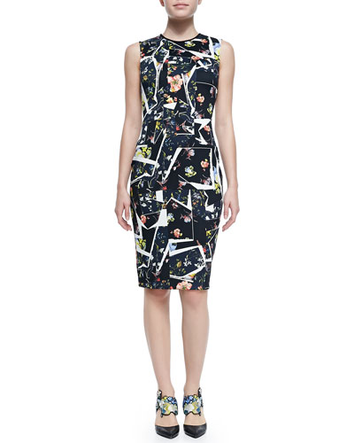 Nell Sleeveless Floral Collage-Print Dress