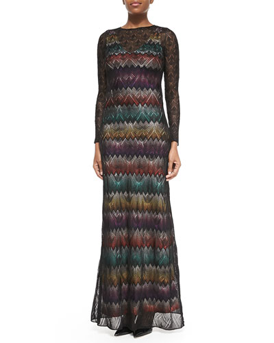 Long-Sleeve Zigzag Maxi Dress W/ Lace Overlay