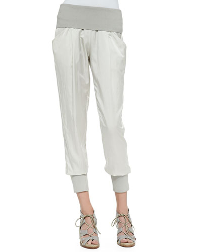 Ankle Pants W/ Ribbed Waist & Cuffs