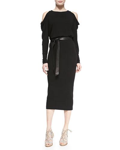Long-Sleeve Cold-Shoulder Dress with Leather Belt
