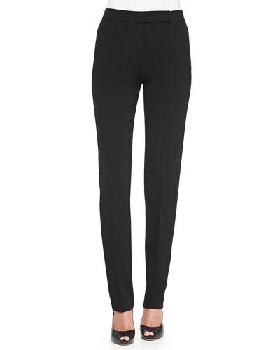 Front-Zip Narrow-Leg Pants, Black