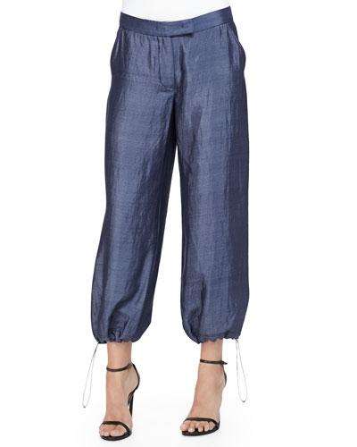 Micro-Striped Drawstring-Hem Pants