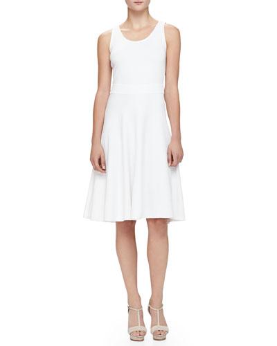 Flare-Skirted Milano Jersey Dress, White