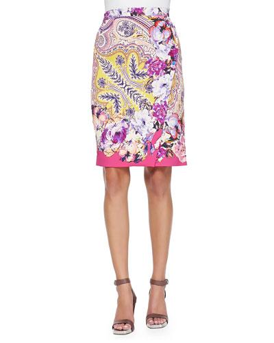 Paisley Faux-Wrap Pencil Skirt