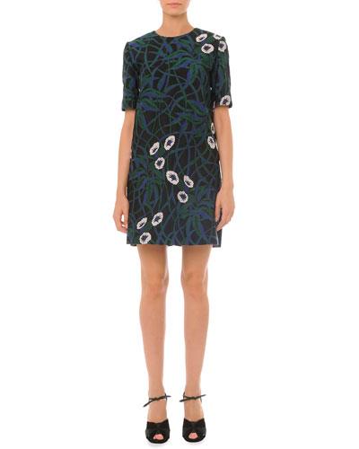 Short-Sleeve Floral Jacquard Combo Dress