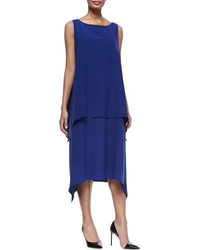 Sleeveless Dress W/ Cascading Sides
