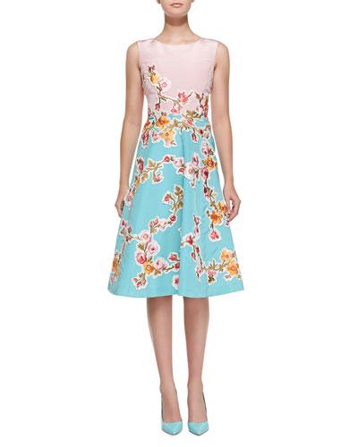 Sleeveless Two-Tone Floral Dress, Peony/Aquamarine