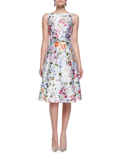 Floral A-Line Dress with Self Belt