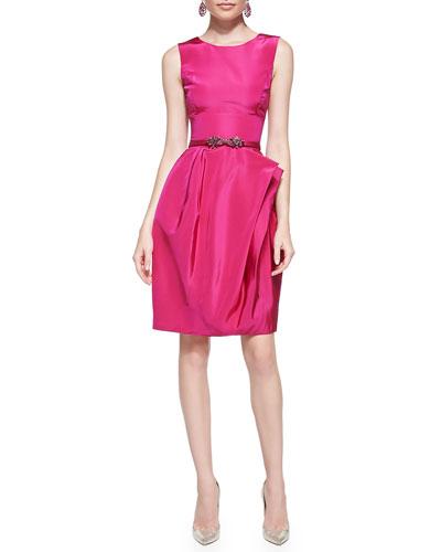 Full-Skirt Silk Dress, Magenta