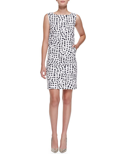 Sleeveless Square-Print Shift Dress