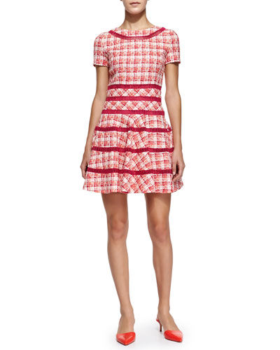 Short-Sleeve Tweed Fit-and-Flare Dress