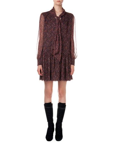 Paisley-Print Dress W/ Dropped Waist