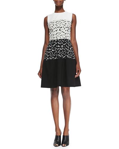 Sleeveless Dress W/ Solid Top & Bottom