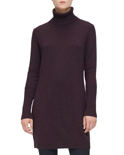 Cashmere Turtleneck Sweaterdress, Violet