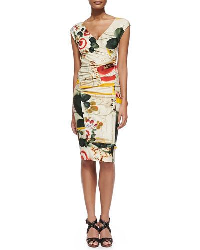 Printed Cap-Sleeve Surplice Dress