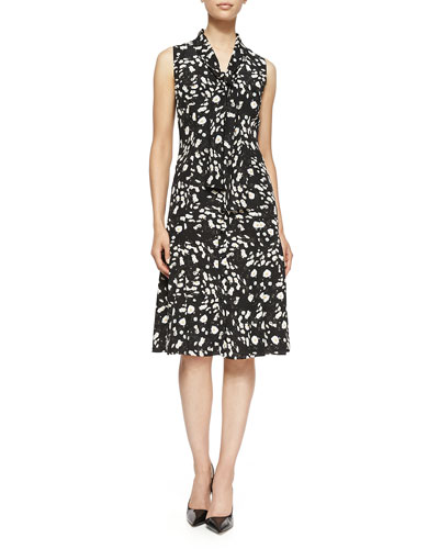 Daisy Floral-Print Twill Tie-Neck Dress