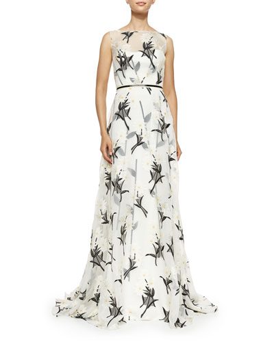 Daisy Floral Fil Coupe Gown