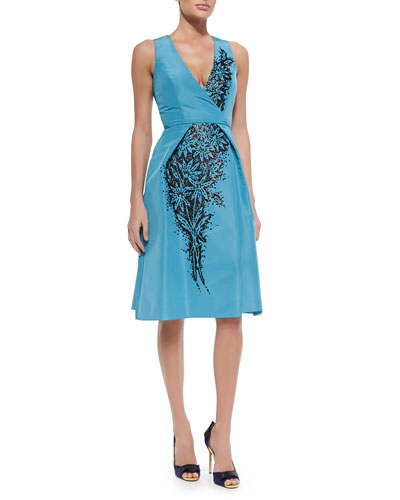 Floral-Beaded V-Neck Cocktail Dress