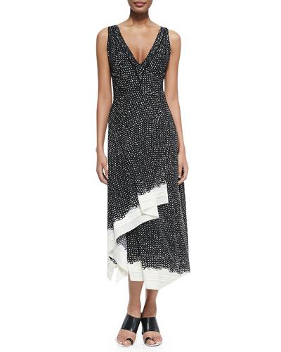 Sleeveless Dotted Ruffle-Hem Dress