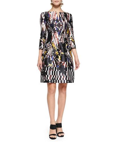 Tropical Ikat-Print Cocktail Dress