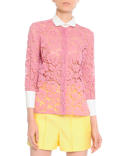 White-Cuff-and-Collared Lace Blouse