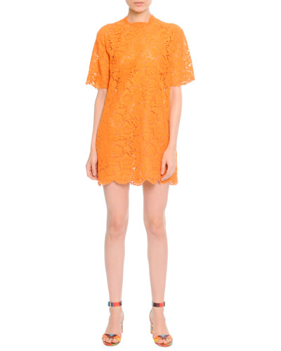 Short-Sleeve Lace Tunic Dress, Carrot