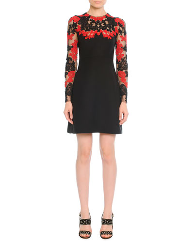 Dress with Lace-Embroidered Sleeves