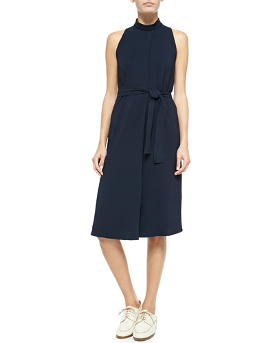 Sleeveless Tie-Waist Crepe Dress