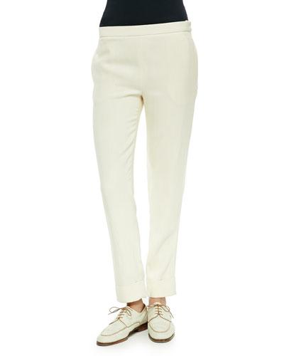 Large-Cuff Skinny Pants, Light Beige