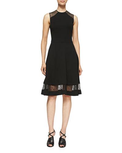 Sleeveless Jersey & Lace Dress