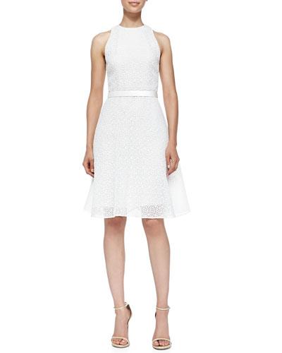 Corded Lace Dress W/ Flounce Hem