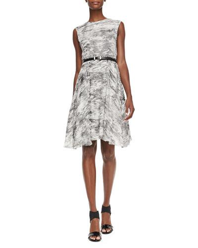 Sleeveless Printed Dress W/ Belt