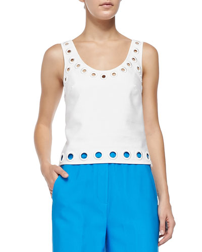 Cropped Embroidered-Eyelet Tank