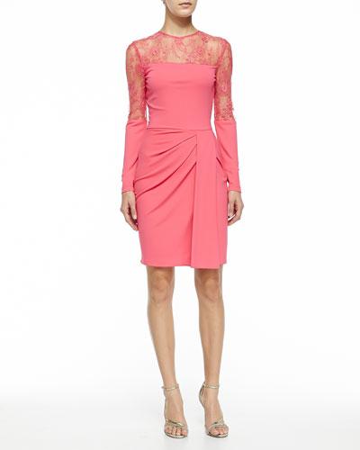 Long-Sleeve Dress W/ Lace Top